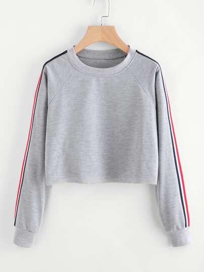 Crop Pullover mit Streifen und Band Detail