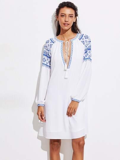 Tassel Tie Plunge Neck Tribal Print Dress