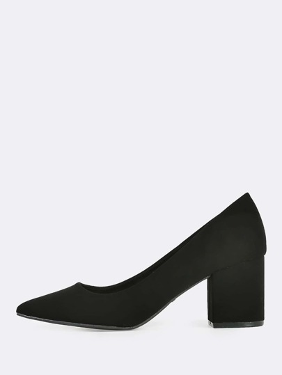 Point Toe Block Heels BLACK