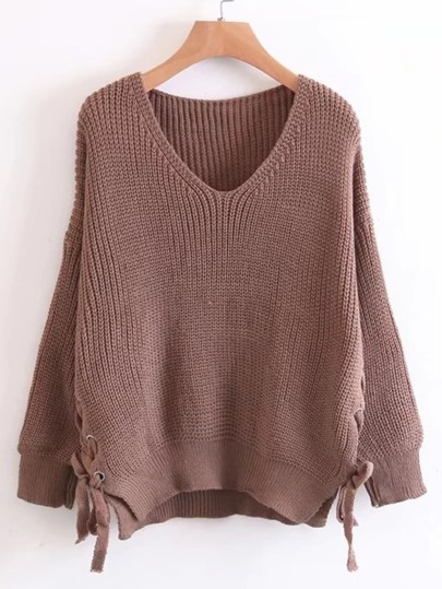 Lace Up Side V Cut Sweater