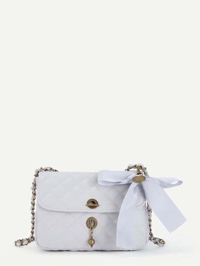 Bolso acolchado con adorno de lazo para atar