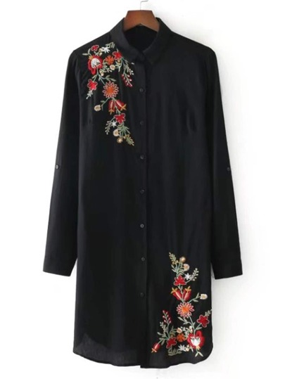 Embroidery Detail Dolphin Hem Shirt Dress