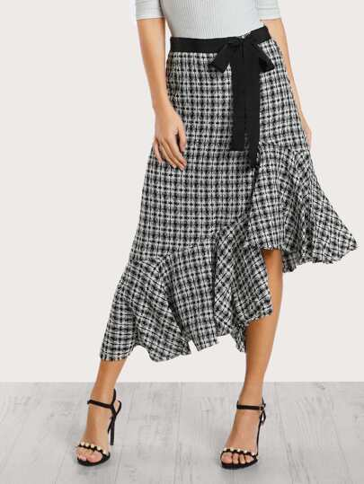 Tweed Ruffle Hem Skirt BLACK WHITE