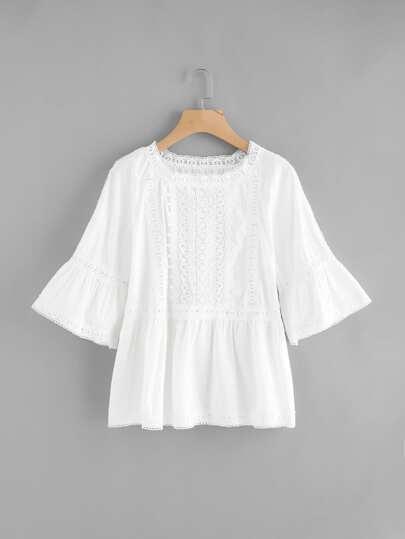 Bell Sleeve Lace Crochet Contrast Blouse