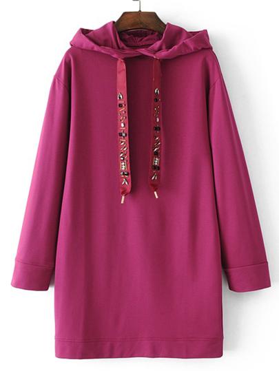 Sweat-shirt robe embelli de strass avec un lacet