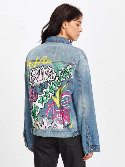 Graffiti Print Ripped Denim Jacket