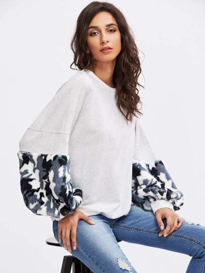 Camo Faux Fur Panel Exaggerate Lantern Sleeve Sweatshirt