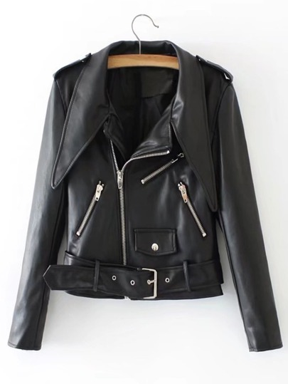 Belted PU Moto Jacket