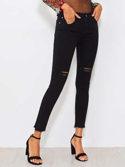 Ripped Raw Hem Skinny Ankle Jeans