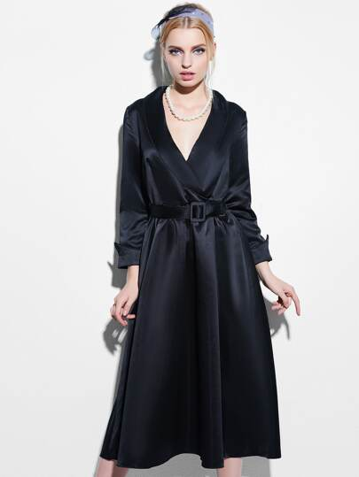 Shawl Collar Belted Swing Dress