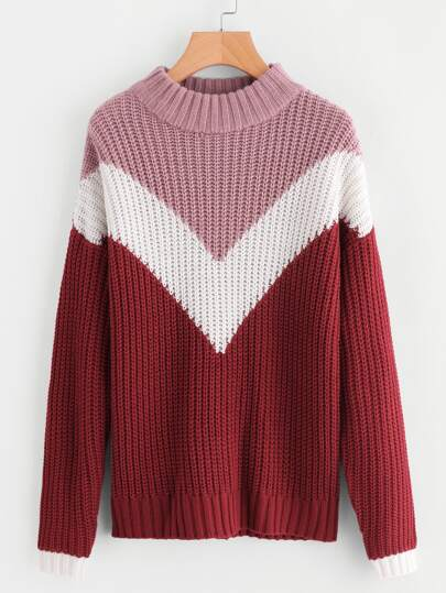 Color Block Chevron Pattern Jumper