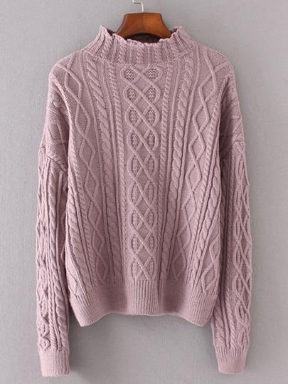Maglione a maglia del cavo a spalla