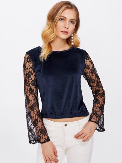 Contrast Floral Lace Sleeve Velvet Blouse