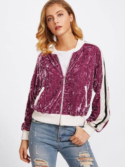 Striped Sleeve Crushed Velvet Bomber Jacket