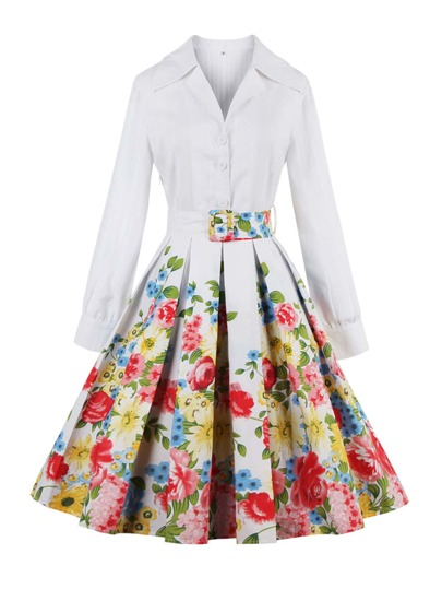 Revere Collar Belted Florals Circle Dress