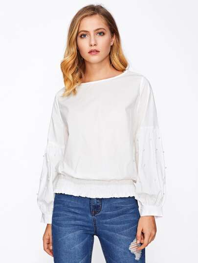Pearl Beaded Lantern Sleeve Shirred Hem Top