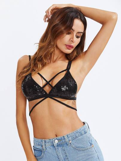 Strappy Sequin Bra