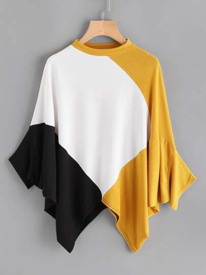 Camiseta cortada y cosida de manga murciélago de ribete hanky