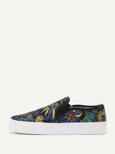 Flower Embroidered Slip On Plimsolls