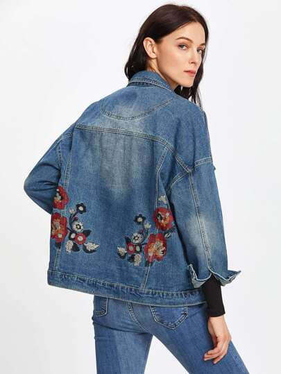 Botanical Embroidered Drop Shoulder Denim Jacket