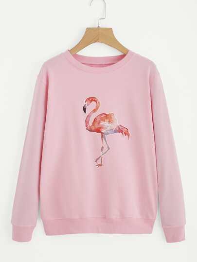 Flamingo Print Drop Shoulder Pullover
