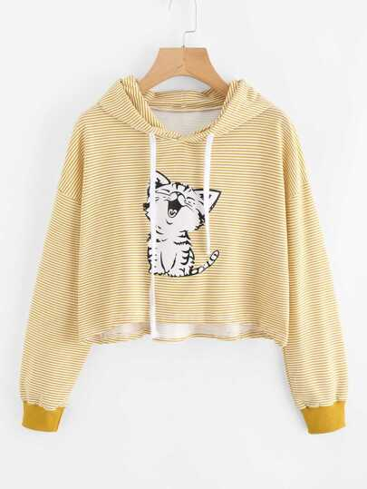 Cat Print Striped Hoodie