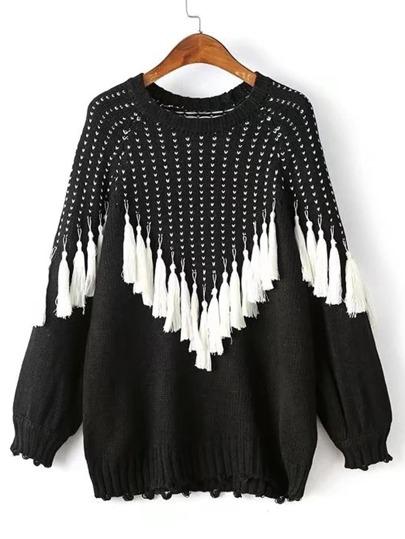 Suéter de manga raglán con fleco