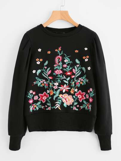 Botanical Embroidery Gigot Sleeve Sweatshirt