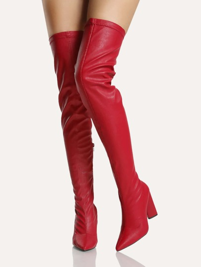 Point Toe Stitched Thigh High Boots RED