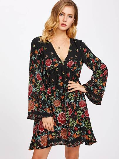 Fluted Sleeve Split Back Botanical Dress