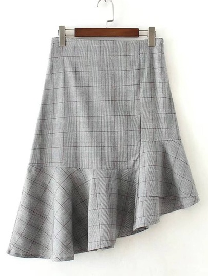 Asymmetrical Flared Hem Plaid Skirt