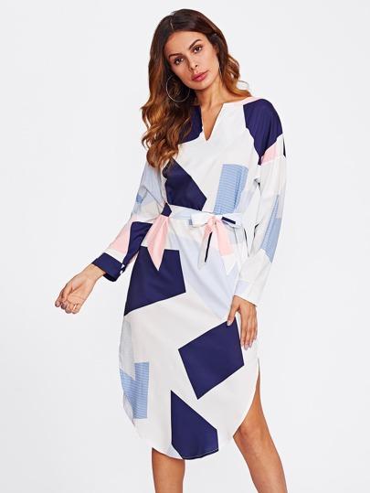 V Cut Dolphin Hem Belted Dress