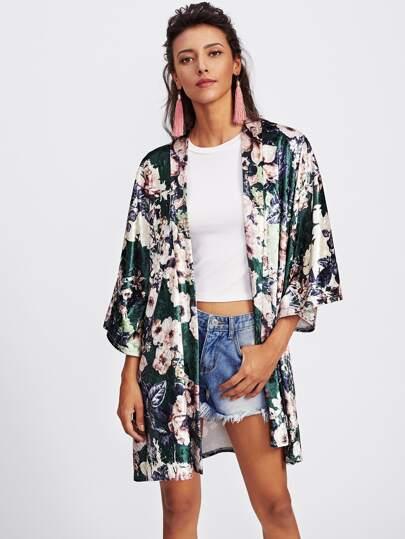 Open Front Floral Velvet Coat