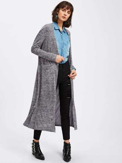 Open Front Marled Knit Coat