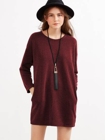 Drop Shoulder Marled Knit Dress