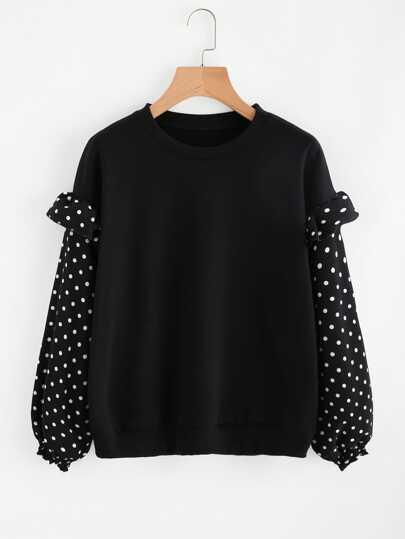 Sweat-shirt découpé avec des plis