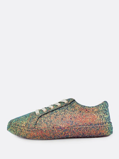 Glitter Shiny Lace Up Sneakers BLUE