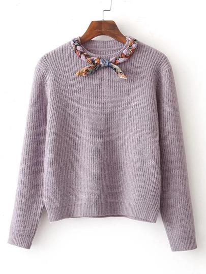 Suéter con diseño de trenza