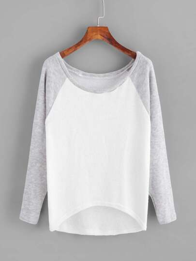 Suéter tejido de manga raglán en contraste