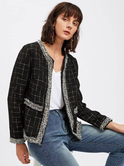 Frayed Trim Open Front Grid Tweed Blazer