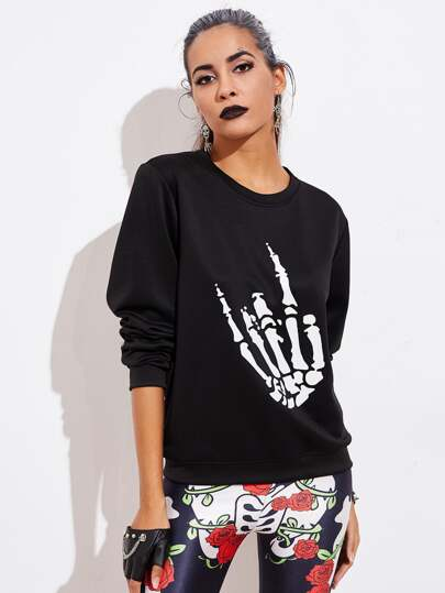 Halloween Skeleton Hand Sweatshirt