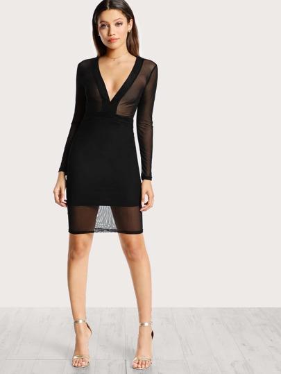 Mesh Top Long Sleeve Bodycon Dress BLACK