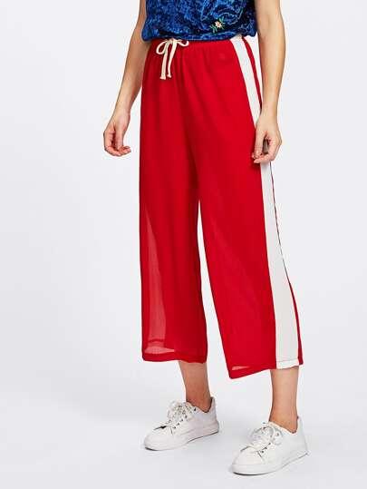 Pantalones cortos de cintura con cordón de lado panel de rayas