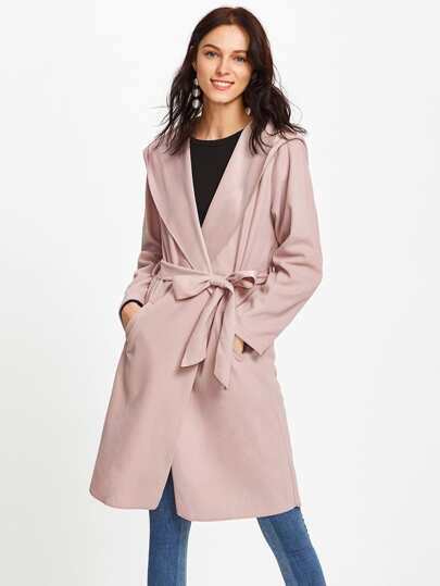 Hooded Self Tie Wrap Coat