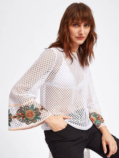 Embroidered Flower Applique Fluted Sleeve Eyelet Top