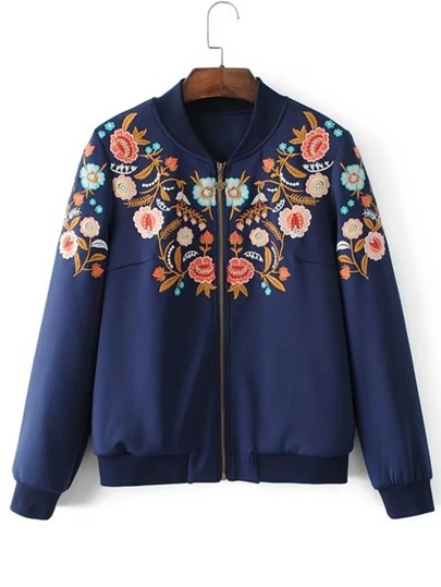 Flower Embroidery Bomber Jacket