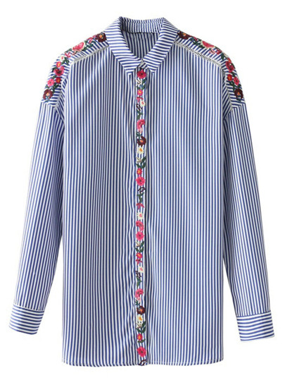 Flower Embroidery Tape Striped Blouse