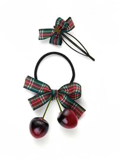 Plaid Hair Tie And Hair Clip Set 2pcs