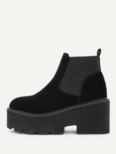 Round Toe Wedge Ankle Boots