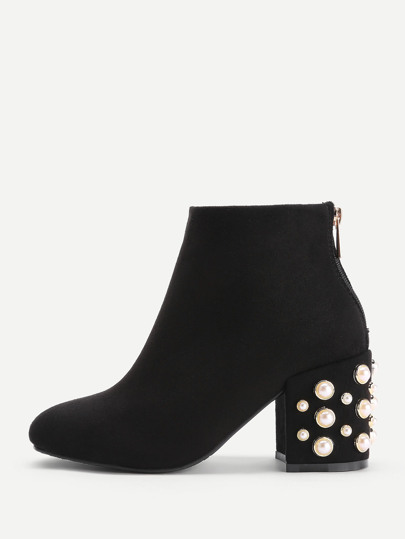 Faux Pearl Back Zipper Ankle Boots